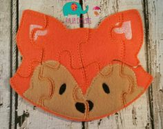 Fox puzzle felt embroidered, embroidery, jigsaw puzzle, learning toy, activity, quiet game, kids toys montessori, homeschool, busy book