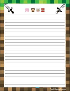 Stationery Minecraft Stationery - Free Printable Ideas from Family Shoppingbag. Stationary Printable Free, Printable Lined Paper, Printable Letters, Free Printables, Minecraft Crafts, Minecraft Printable, Minecraft Classroom, Minecraft Stuff, Pen Pal Letters