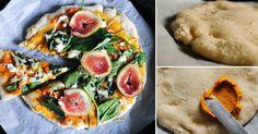 Pizza casera libre de gluten con salsa de romero y calabaza