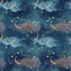 Unicorn fabric - cloud fabric- circus fabric- star fabric - cotton fabric- Knit fabric- jersey knit fabric- quilting fabric- unicorn prints - Women's style: Patterns of sustainability Moon Art, Art Inspo, Wallpaper, Ravenclaw Aesthetic, Wallpaper Backgrounds, Painting, Art, Aesthetic Wallpapers, Prints