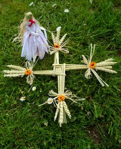 Pagan Handfasting / Home Blessing Gift. Handmade Brighid Corn Dolly & St. Brigid's Cross