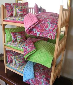 "Stackable Triple Doll Bunkbed & 15pc Paisley Bedding American Made For 18"" Doll"