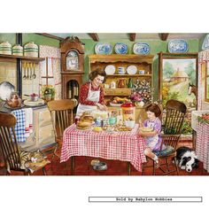 'The Kitchen Garden' by contemporary English illustrator Jim Mitchell. ~ It's a lovely bright sunny afternoon, ideal for giving dad a hand in the kitchen garden, harvesting some vegetables ready for tonight's supper. Meanwhile, with a lot of healthy appetites to feed, mum and her little helper are busy baking some delicious cakes for tea. Stunning images of both the inside and outside of the cottage.