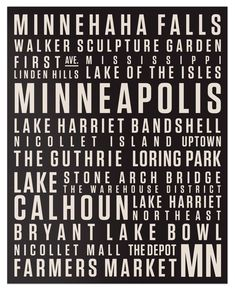 MPLS Canvas Print // Beige on Black // Locality by Locality Minnesota Home, Minneapolis Minnesota, Minnesota Twins, All Family, Family Room, Twin Cities, Oh The Places You'll Go, Amazing, Awesome