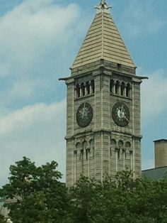 Old Carnegie Library clock tower. Allegheny Center, Pittsburgh, PA