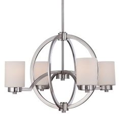 """View the Quoizel CLT5004 Celestial 4 Light 25"""" Wide Chandelier with Opal Etched Glass at LightingDirect.com."""