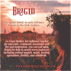 Brigid ~ The sabbat Imbolc in early February belongs to this Irish Goddess. Brighid Goddess, Celtic Goddess, Wicca Witchcraft, Pagan Witch, Witches, Sea Witch, Celtic Druids, Celtic Paganism, Irish Mythology