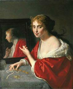 """Paulus Moreelse ~ """"Vanitas: Young Lady Before a Mirror"""", 1632"""