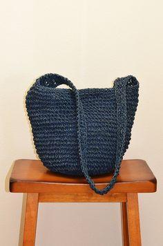 Raffia Straw Bag  Navy Beach Bag Carryall by FiregypsyVintage
