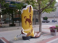 Cheyenne, Wyoming, is home to one of the LARGEST cowboy boot collections, anywhere! At 8' tall, they're a sight to see, and a testament to the true western artists in Wyoming. When you visit Cheyenne, go on a scavenger hunt and find them all. www.cheyenne.org/