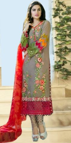 Elegant Grey Georgette Straight Salwar Suit With Dupatta.
