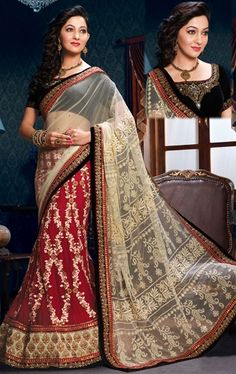 Picture of Amazing Maroon and Cream Saree for Wedding