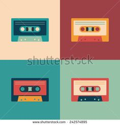 Colorful set of audio cassettes. - stock vector