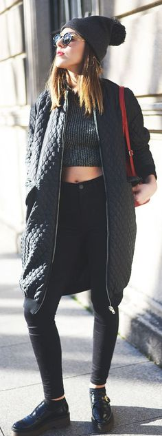 This Quilted Long Bomber Jacket is everything