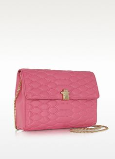Orchid Pink Quilted Leather Crossbody w/Chain Strap - Roberto Cavalli