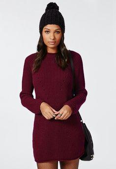 Deep red jumper dress