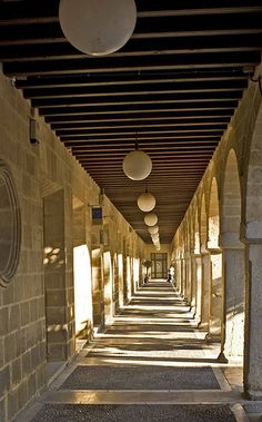 Walkway shadows in the Plaza de Espana, Jerez, Spain