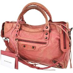 Pre-owned Balenciaga Auth The City Hand Strap Leather Italy Nr03015... ($716) ❤ liked on Polyvore featuring bags, handbags, tote bags, pinks, leather handbag tote, pink leather purse, pink tote bag, genuine leather tote and leather tote bags