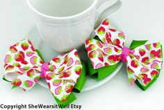 Sweet Strawberries Pinwheel Hair Bows for Girls by SheWearsitWell, $12.00