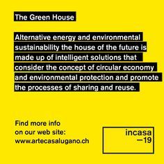 Visit and discover all the news related to the concept of a green house 🏘️♻️ Let's take care of the world in which we live🌍💚 info 📧 Circular Economy, Lugano, Alternative Energy, Future House, Switzerland, Sustainability, Architecture Design, Innovation, Concept