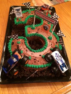 Monster truck cake made by Amy Volby Dirt Bike Cakes, Blaze Birthday Cake, 3rd Birthday Cakes For Boys, 3 Year Old Birthday Party Boy, Dirt Bike Birthday, Dirt Bike Party, Third Birthday, 4th Birthday Parties, Boy Birthday