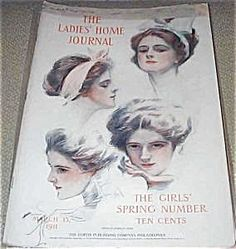 """$61 COVER ONLY** OF THE LADIES HOME JOURNAL FOR 03/15/1911. COVER BY HARRISON FISHER """"A STUDY""""."""