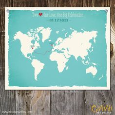 World Map Custom Wedding Print - Geography Love Collection - 11x14 inches Customized Print. $35.00, via Etsy.