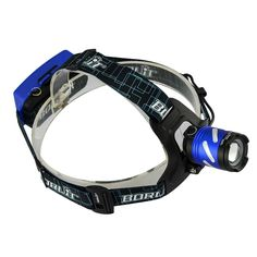 Welltop 3 Modes superbright Zoomable Headlamp,Hands Free LED Headlight Torch, Rechargeable Warning flashlight ,With18650 Batteries for Hiking Camping Riding Fishing Hunting(blue) ** To view further, visit now : Camping stuff