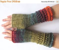 Fingerless Gloves Mittens wrist warmers Purple Blue Burgundy Red Orange Green Moss knit from Initasworks on Etsy. Saved to Fingerless gloves. Loom Knitting, Knitting Patterns, Half Gloves, Wool Wash, Fingerless Gloves Knitted, Wrist Warmers, Yarn Projects, Knitting Accessories, Hand Dyed Yarn