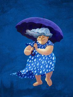 Lady rain Art Print