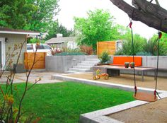 Defined spaces, nice entry way into yard with pavers and grassy play area.  http://www.houzz.com/decomposed-granite/