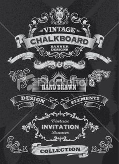 Chalkboard design elements. Retro Banner and ribbon set Royalty Free Stock Vector Art Illustration