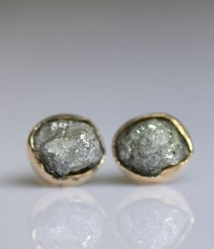 raw diamond in 14k gold ear stud