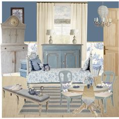 """Blue Toile Bedroom"" by meggiechelle on Polyvore"