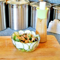 Easy Creamy Asian Salad Dressing Recipe Salads with soy sauce, white vinegar, warm water, tahini, sugar