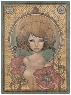 """I Know"" by Audrey Kawasaki for ""In the Wake of Dreams"" show, oil and graphite on wood 18"" x 24"""