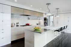 Kitchen Designs. Contemporary Kitchen with Island Design Ideas with Awesome Inspiring Wood Veneer and Solid Wood Panel One-Sided and Two-Sid...