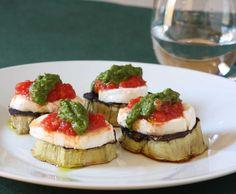"Eggplant and Pesto ""Bruschetta"" A Light, Different (and Tasty) Eggplant Recipe #simple #eggplant #italian"