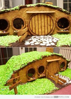 Hobbit gingerbread house - Amazing edible gingerbread house looking like houses from Hobbit and The Lord of the Rings.