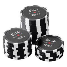 Bride Tribe Red Heart Arrow Black Striped Poker Chip Set - bridal shower gifts ideas wedding bride