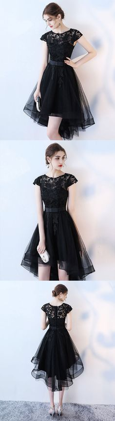 black lace short prom dress, high low homecoming dress