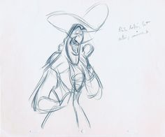 Frank Thomas' rough animation sketches for Captain Hook from Peter Pan (1953). Rumor has it that Captain Hook's appearance is based on Thomas!