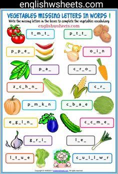 Vegetables Esl Printable Missing Letters in Words Worksheets For Kids #vegetables #Esl #Printable #missing #Letters #words #Worksheets #language #arts #languagearts
