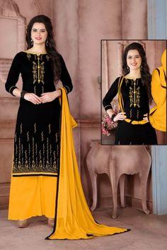 Stylish Black Cotton Trouser Suit With Dupatta - DMV15300  #shopping #fashion #palazzo