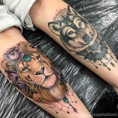 Tattoos by Makkala rose.#tattoo #lion #wolf