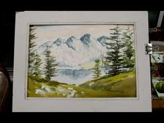 Watercoloring a mountain scene - YouTube
