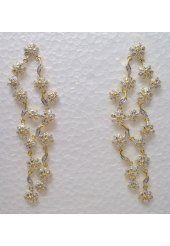 Golden Earrings with White Stones Studded Earrings