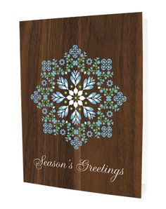 Doily Snowflake - faux walnut folded holiday cards - eco-friendly made in the usa