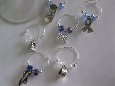 Skiing Wine Charms Set by Aglasswithclass on Etsy, $12.50