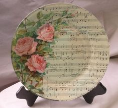 have to try this - pix from ALWAYS #decoupage Glass Plate featuring Vintage Sheet Music. $60.00, via Etsy.